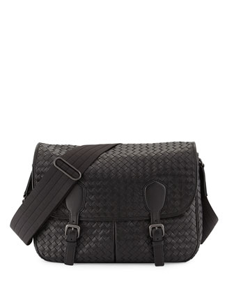 Gardena Woven Messenger Bag, Black