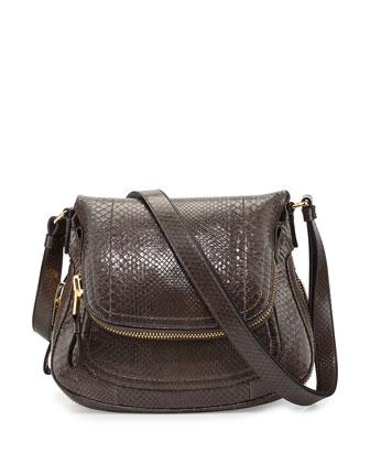 Jennifer Medium Python Flap Shoulder Bag, Graphite Dark Gray
