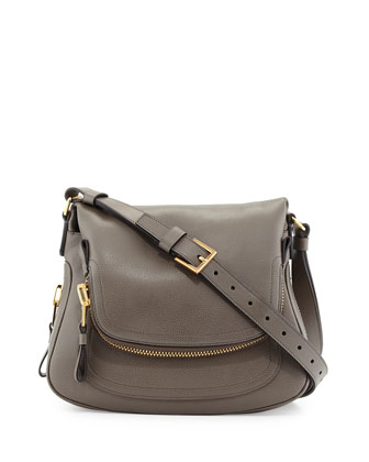 Jennifer Medium Leather Crossbody Bag, Graphite Dark Gray