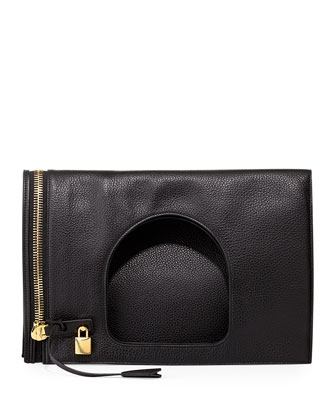Alix Leather Padlock & Zip Shoulder Bag, Black