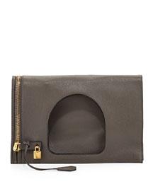 Alix Leather Padlock & Zip Fold-Over Bag, Graphite (Dark Gray )