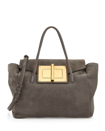 Natalia Soft Suede Turn-Lock Tote Bag, Gray