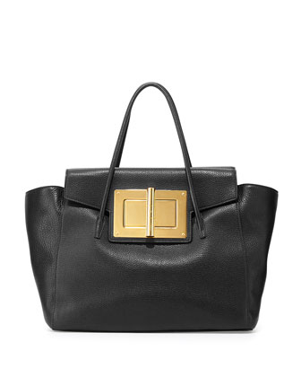 Natalia Soft Leather Turn-Lock Tote Bag, Black