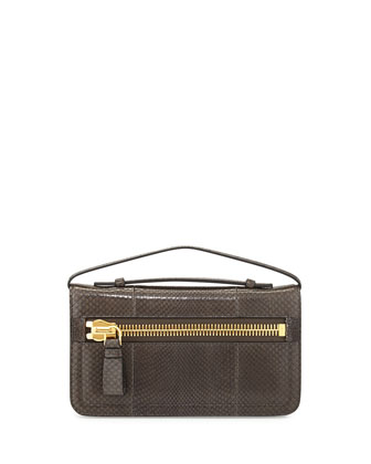 Jennifer Python Clutch Bag with Strap, Graphite