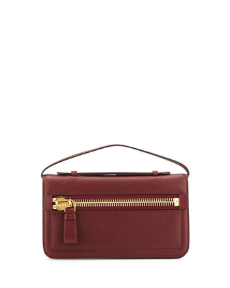 Jennifer Leather Zip Clutch Bag, Red