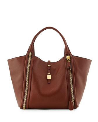 Amber Double-Zip Leather Tote Bag, Brown