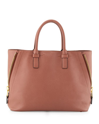 Jennifer Medium Trap Calfskin Tote Bag, Rose
