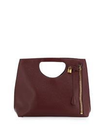 Alix Zip & Padlock Shopper Tote Bag, Red