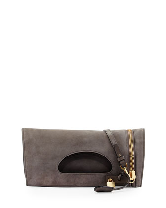 Alix Suede Zip & Padlock Crossbody Bag, Graphite (Dark Gray)
