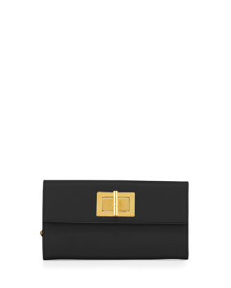 Natalia Continental Turn-Lock Wallet, Black