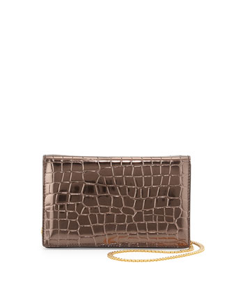 Metallic Faux-Crocodile Crossbody Bag, Silver
