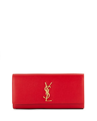 Cassandre Croc-Embossed Calfskin Clutch Bag, Red