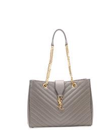 Monogram Matelasse Shopper Bag, Gray