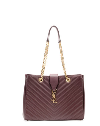Monogramme Matelasse Shopper Bag, Bordeaux