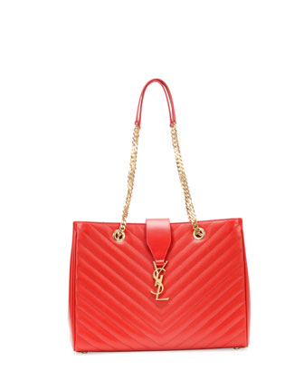 Monogramme Matelasse Shopper Bag, Red