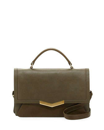 Helene Small Calfskin Top-Handle Bag, Militaire
