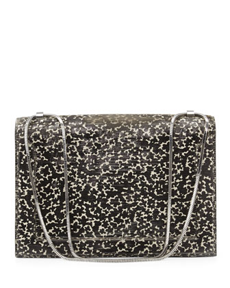 Soleil Textured Flap Shoulder Bag, Cream/Black