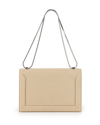 Soleil Flap Shoulder Bag, Nougat/Black