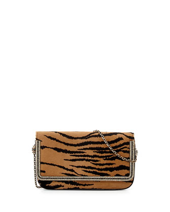 Carmichael Calf Hair Clutch Bag, Tan/Black