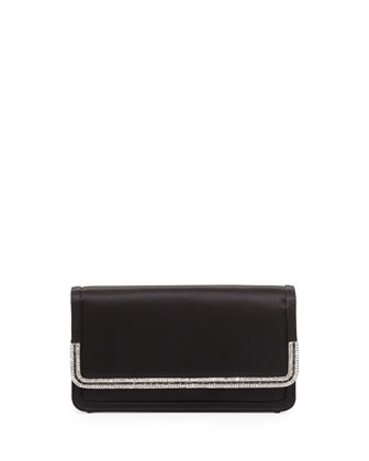 Lenox Satin Crystal-Trim Clutch Bag, Black