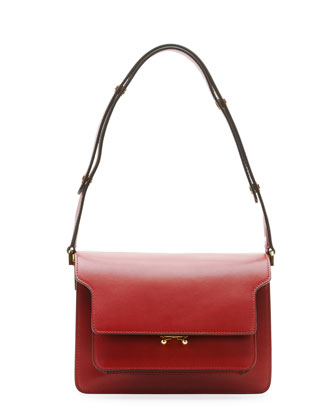 Flap Top Leather Shoulder Bag, Dark Red