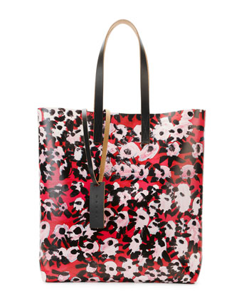 Flower-Print PVC Shopping Bag, Raspberry