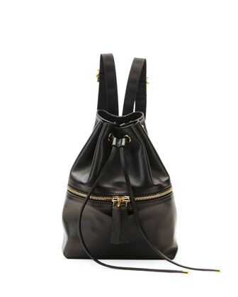 Mini Leather Drawstring Backpack, Dark Gray