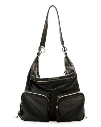 Convertible Backpack/Shoulder Bag, Black
