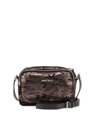Opal Camo Zip-Around Crossbody Bag, Black/Gunmetal