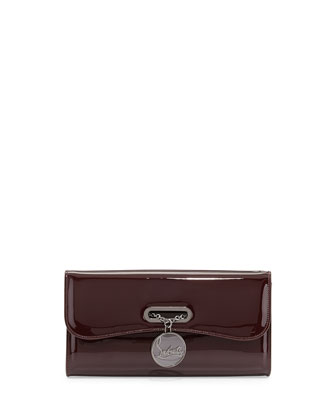 Riviera Patent Clutch Bag, Bordeaux