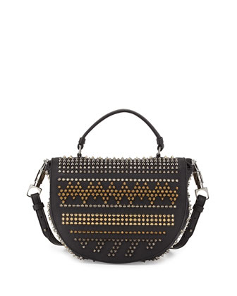 Panettone Spiked Chevron Messenger Bag, Black Multi