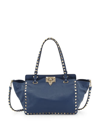 Rockstud Mini Tote Bag, Navy Blue