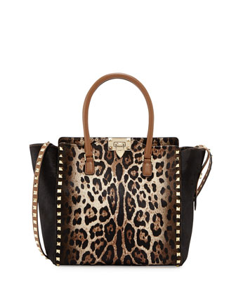 Rockstud Calf Hair Medium Shopper Tote Bag, Leopard