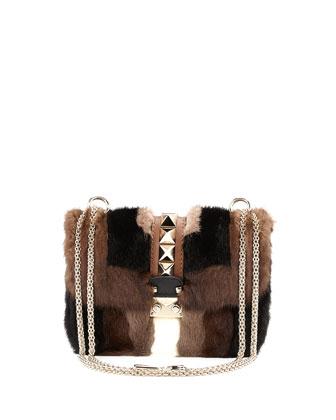 Glam Lock Mink Fur Shoulder Bag, Brown