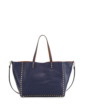 Rockstud Reversible Double-Sided Tote Back, Blue/Brown