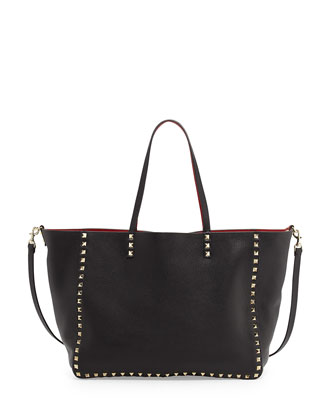 Rockstud Reversible Tote Bag, Black/Red