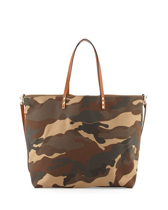 Camo Patchwork Canvas Easy Tote Bag, Camel/Taupe