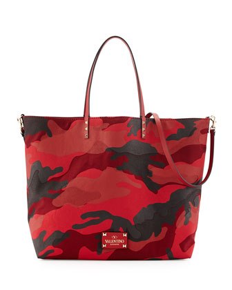 Camouflage Reversible Tote Bag, Red/Black