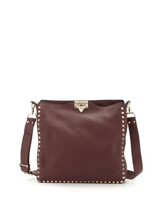 Rockstud Pebbled Messenger Bag, Bordeaux