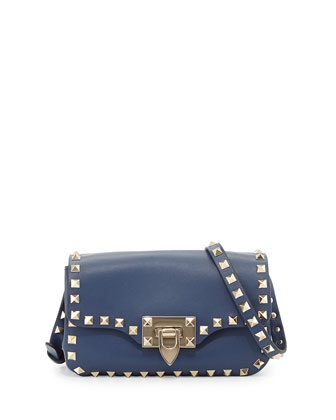 Rockstud Leather Studded Mini Crossbody Bag, Blue
