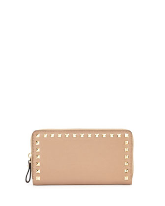 Rockstud Continental Zip Wallet, Tan