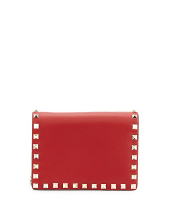 Rockstud Pouch Crossbody Bag, Red