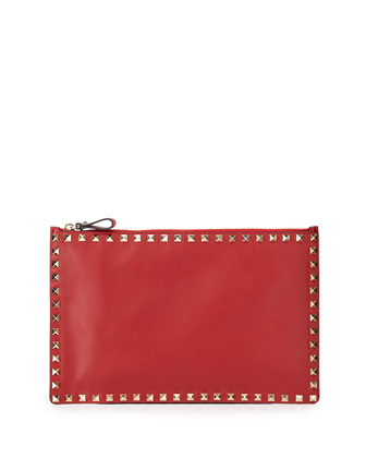 Rockstud Large Flat Pouch Bag, Red