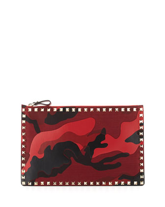 Camo Large Rockstud Pouch, Red