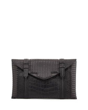 Bowery Oversized Croc-Embossed Clutch Bag, Black