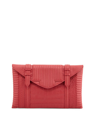 Bowery Oversized Croc-Embossed Clutch Bag, Raspberry