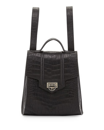Siren Croc-Embossed Backpack, Black