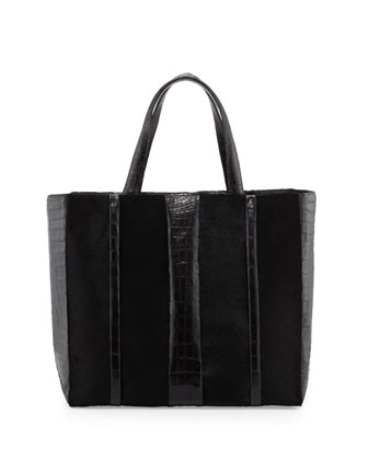 Crocodile & Calf Hair Shopper Tote Bag, Black