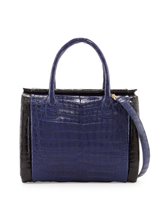 Crocodile Medium Boxcar Bag, Navy/Black