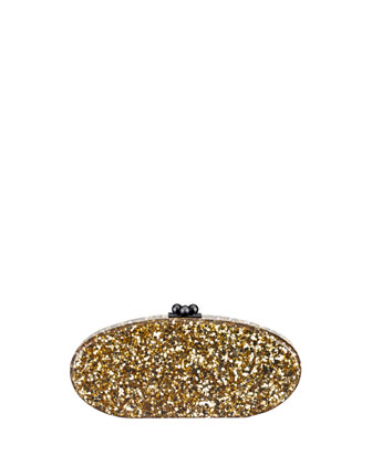 Edie Confetti Acrylic Clutch Bag, Gold